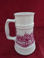 Alföldi porcelán sörös korsó, Buda felirattal és látképpel, magassága 16,5 cm.