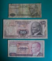 Törökország – 3 db-os Bankjegy lot –10-50-100 Líra - 1970