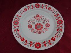 Alföldi porcelán falitányér, piros matyó mintás, átmérője 19 cm.