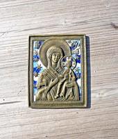 Orosz zománcozott Sz. Mária bronz ikon
