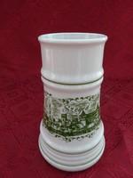 Alföldi porcelán sörös korsó, Szeged felirattal és látképpel, magassága 17 cm.