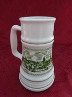Alföldi porcelán sörös korsó, Sopron felirattal és látképpel, magassága 16,5 cm.