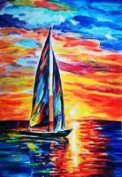 Naplemente - akril festmény