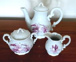 Régi Zsolnay barokk kávés lila mintás kiöntő kanna cukortartó 3 db