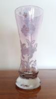 Régi lila váza festett virágos üvegváza
