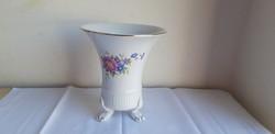 Hollóházi porcelán hajnalka mintás karmos váza