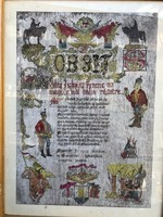 Obsit levél, keretezve, ajándéknak kiváló, 30 x 45 cm-es.