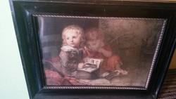 Régi festmény nyomat, nagyon szép régi keretben