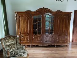 KURIÓZUM 8db-os Neobarokk komplett nappali kézzel faragott dió (antik kanapé, fotel, szekrény bútor)