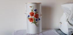 Hollóházi porcelán ritka pipacsos váza