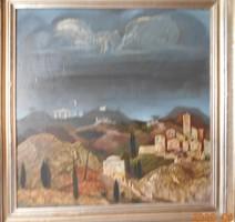 MOLNÁR C.PÁL -ITÁLIAI TÁJKÉP /60x55 cm , olaj, fa