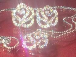 Álomszép! Aurora Borealis Rózsa Tibeti Ezüst  Iparművész Ékszer Szett