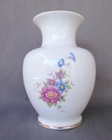 Hollóházi virágos porcelán váza