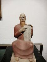 """Méhely Mária 1908-1978 kerámia szobor .""""Mózes """"  Kézzel festett színes máz. Ritka! N-45"""