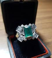 14 kt arany cca 1,2 ct brill gyűrű smaragddal