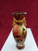 Német üveg váza, kézzel festett, magassága 20 cm, felső átmérő 6 cm.