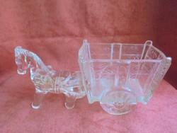 Öntött üveg figurális cukortartó