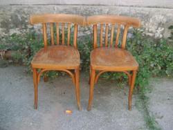 Két darab régi támlás szék - gőzölt bükkfa, rétegelt lemez