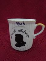 Csehszlovák porcelán pohár, Mozart Melange felirattal.