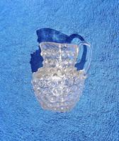 Antik szakított üveg, kis bütykös kancsó