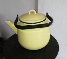 Retro zománcos, Zománcos sárga teáskanna, teafőző, kanna, nosztalgia darab, paraszti dekoráció