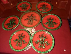 205  6 személyes Villeroy & Boch Gallo Piroschka majolika süteményes készlet 6+1  23 és 19 cm