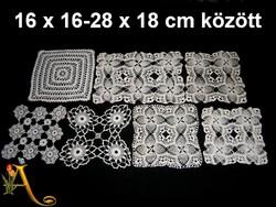 7 db kézzel horgolt csipke terítő 16 x 16 és 28 x 18 cm