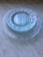 Üveg süteményes tál készlet