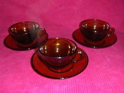 Mézszínű üveg kávéscsésze készlet 3 sz. (5/d)