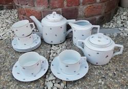 Zsolnay 4 személyes virágos  teáskészlet, csésze, kanna, cukortartó, tejszínes,