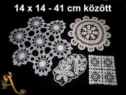 4 db kézzel horgolt különleges csipke terítő 14 x 14 és 41 cm