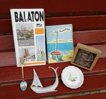 6 db-os retro , Balaton, Balatonos csomag, Aquincum gyűrűtartó, Tűzzománc kanál, könyv, stb
