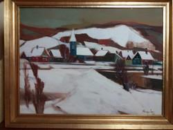 Nagy Ernő Sándor : Tél ( olaj , farost , 60X80 cm ) Képcsarnokos