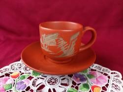 205/1 Kézzel készült Japán kerámia csésze tányérral 8x8 cm, a tányér 15 cm