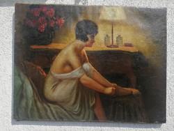 Antik szecessziós koru festmény, erotikus hölgy szobâban!.Enteriőr !