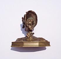 Régi jelzett bronz brüszt, mellszobor