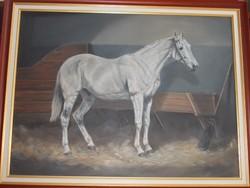 Újfalusi Árpád:Klasszikus lóportré istállóban 60*80cm