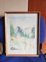 32x42, hegyes táj, akvarell festmény