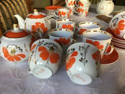 Antik Baranovka, orosz, szovjet, teás készlet, 6 személyes, kézifestéses, vitrin (200)