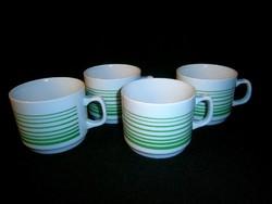 4 db Zsolnay porcelán zöld csíkos bögre, csésze