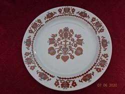 Alföldi porcelán barna mintás falitányér, átmérője 24 cm.
