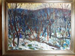 Uhrig Zsigmond : Téli táj ( olaj , vászon , 60x80 cm ) Képcsarnokos .