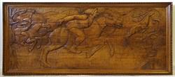 1B110 Hatalmas méretű faragott ősmagyar mondai csodaszarvas űzése fafaragás falikép 305 x 262 cm