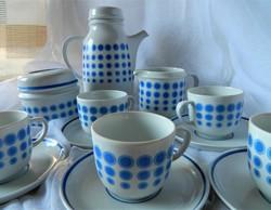 Kék pöttyös kávés készlet, Hollóháza, 5 főre