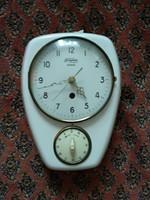 Régi német Fama signal óra, védőburás porcelán falióra, antique  wall clock, watch