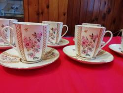 6 szem. vitrin állapotú Lomonosov porcelán capuccinós, kávés készlet