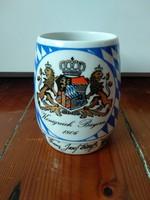 Porcelán Ferenc József bajor söröskorsó, Bajor Királyság 1806 címer Franz Joseph jug