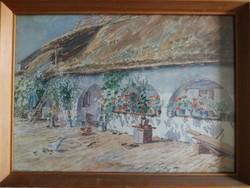Parasztház festmény 38x28 cm