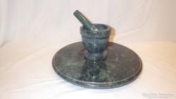 Forgó márvány tálca patika mozsárral és törővel