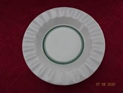 Alföldi porcelán zöld csíkos hamutál, átmérője 16,5 cm.